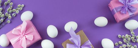 Boîte-cadeau réglé de Pâques de bannière avec l'oeuf blanc de chatons de branches Photo libre de droits
