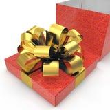 Boîte-cadeau rouge avec l'arc d'or de ruban sur le blanc 3D illustration, chemin de coupure Photos stock
