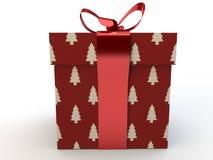 Boîte-cadeau rouge avec le rendu d'illustration de l'arc 3d de ruban Photo libre de droits