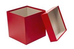 Boîte-cadeau rouge de Noël vide avec le couvercle Photos stock