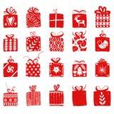 Boîte-cadeau simples rouges pour le style nordique scandinave de célébrations de vacances Noël, présents de nouvelle année Collec illustration de vecteur