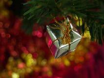Boîte-cadeau sur la branche de pin et le fond de bokeh images stock