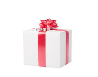 Boîte-cadeau sur le blanc avec l'amour de mots. Photos libres de droits