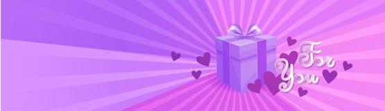 Boîte-cadeau sur le lettrage de Violet Template Background For You, concept horizontal de bannière de jour de valentines illustration libre de droits