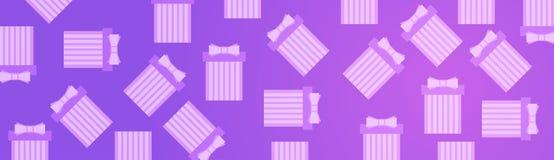 Boîte-cadeau sur les présents roses de Violet Background Horizontal Banner With Images libres de droits
