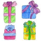 Boîte-cadeau tirés par la main mignons avec des arcs Illustration d'aquarelle Photos stock