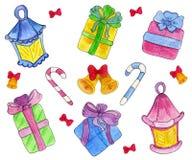 Boîte-cadeau tirés par la main mignons avec les arcs et la lampe-torche de Noël, cloches de ND de bâtons Illustration d'aquarelle Photographie stock