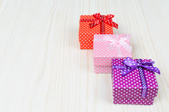 Boîte-cadeau trois multicolore Image libre de droits