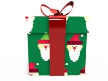 Boîte-cadeau vert avec le rendu d'illustration de l'arc 3d de ruban Images stock