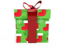 Boîte-cadeau vert avec le rendu d'illustration de l'arc 3d de ruban Photo libre de droits