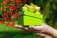Boîte-cadeau vert chez les mains de la femme Photographie stock libre de droits