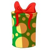 Boîte-cadeau vert de cylindre avec l'arc rouge Image stock