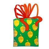 Boîte-cadeau vert de cylindre avec l'arc rouge Images libres de droits