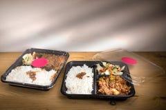 Boîte commode du repas à emporter deux avec du riz, la viande et le légume image libre de droits