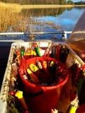 Boîte complètement d'attraits de pêche de brochet Image libre de droits