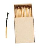 Boîte d'allumettes et match brûlé images libres de droits