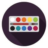 Boîte d'aquarelle avec l'icône de brosse dans la conception plate Photographie stock
