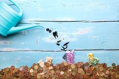 Boîte d'arrosage avec des icônes et l'euro devise, concept Pharmaceutica Photographie stock libre de droits