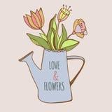 Boîte d'arrosage avec les fleurs colorées tirées par la main Illustration de Vecteur