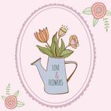 Boîte d'arrosage avec les fleurs colorées tirées par la main avec Illustration Stock