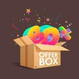 Boîte d'offre avec des remises de specials Images stock