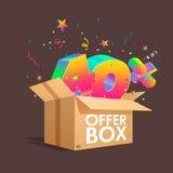 Boîte d'offre avec des remises de specials Photographie stock libre de droits