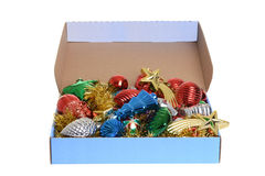 Boîte d'ornements antiques de Noël Image stock