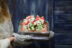 Boîte de biscuits de Noël chez la main du ` s de la femme images stock