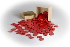 Boîte de carton d'amour du ` s de valentine Image stock