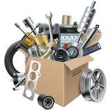 Boîte de carton de vecteur avec des pièces de rechange de voiture illustration libre de droits