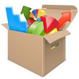 Boîte de carton de vecteur avec des statistiques Photographie stock libre de droits
