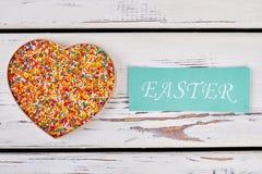 Boîte de coeur et carte de Pâques Images libres de droits