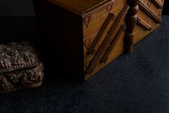 Boîte de couture du ` s de tailleur vieille photos stock