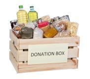 Boîte de donations de nourriture Photographie stock libre de droits