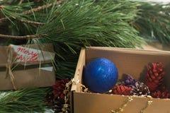 Boîte de fête avec la décoration sur l'arbre de Noël Images libres de droits