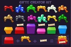Boîte de grand kit de bande dessinée la différents et arcs de rubans pour des cadeaux de créateur, dirige des objets illustration de vecteur