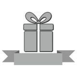Boîte de Gray Gift avec l'icône de ruban Photographie stock