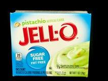 Boîte de Jello Sugar Free Pistachio Pudding Mix Photographie stock