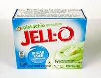 Boîte de Jello Sugar Free Pistachio Pudding Mix Photos stock