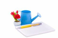 Boîte de journal intime ou de carnet, de stylo, de rose de rouge, en verre et d'arrosage Photos stock