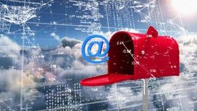 Boîte de lettre avec au signe entouré par des connexions de données et des codes binaires illustration stock