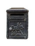 Boîte de lettre noire de vintage sur le blanc Photo stock