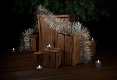 Boîte de Noël avec la tresse de bougies et arbre à l'illustration de la maison 3d Photos libres de droits