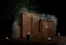 Boîte de Noël avec la tresse de bougies et arbre à l'illustration de la maison 3d Photos stock