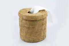 Boîte de papier de soie de soie sur le fond blanc Images stock