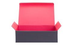 Boîte de papier noire ouverte d'isolement sur le blanc Images libres de droits