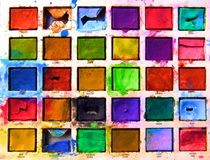 Boîte de peintures brillante Photo libre de droits