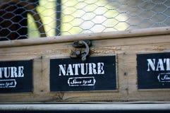 Boîte de rangement en bois avec la grille métallique image libre de droits