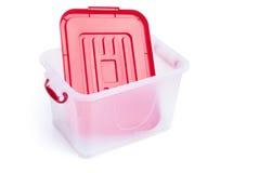 Boîte de rangement transparente et couvercle rouge Photos stock