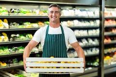 Boîte de transport de sourire de légumes de travailleur Image stock